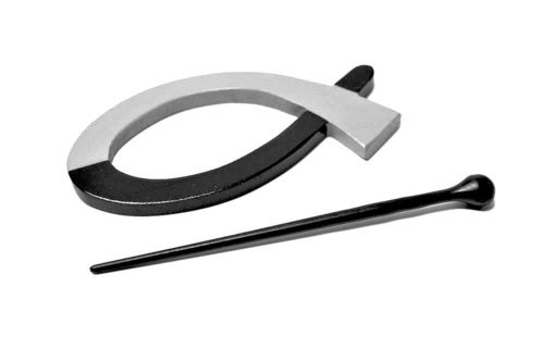 Shawl Pin - Black and Gray Loop