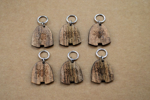 Wooden Stitch Markers - Set of 6 Beehives