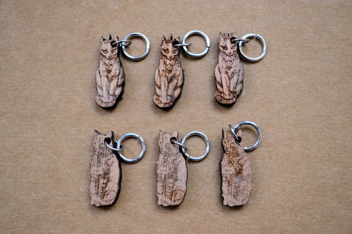 Wooden Stitch Markers - Set of 6 Cats