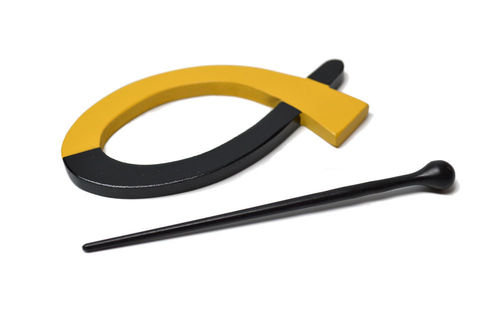 Shawl Pin - Black and Yellow Loop
