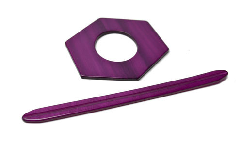 Shawl Pin - Purple Hexagonal