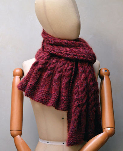 Two-Sided Cabled Scarf Pattern Printed